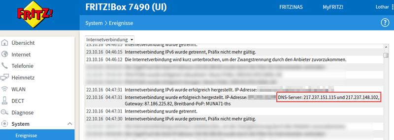 DNS-Server vom Provider